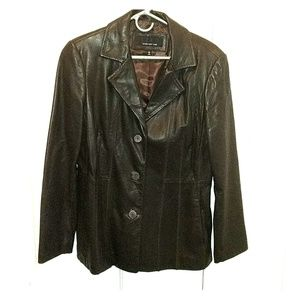 Jones New York Brown Genuine Leather Jacket